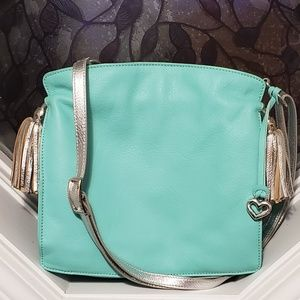 Brighton Teal and Silver Crossbody Purse